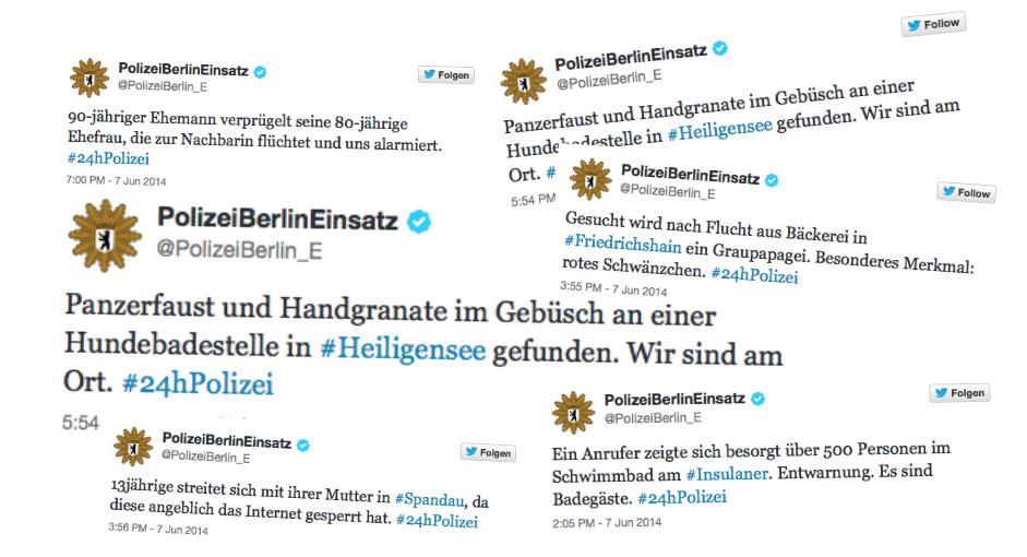 Die Collage zeigt eine Auswahl skurriler Tweets aus der 24hPolizei-Aktion. Quelle: @PolizeiBerlin_E